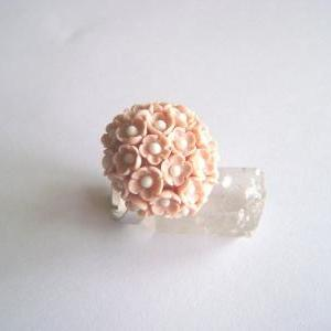 Pink Flowers Polymer Clay Adjustabl..