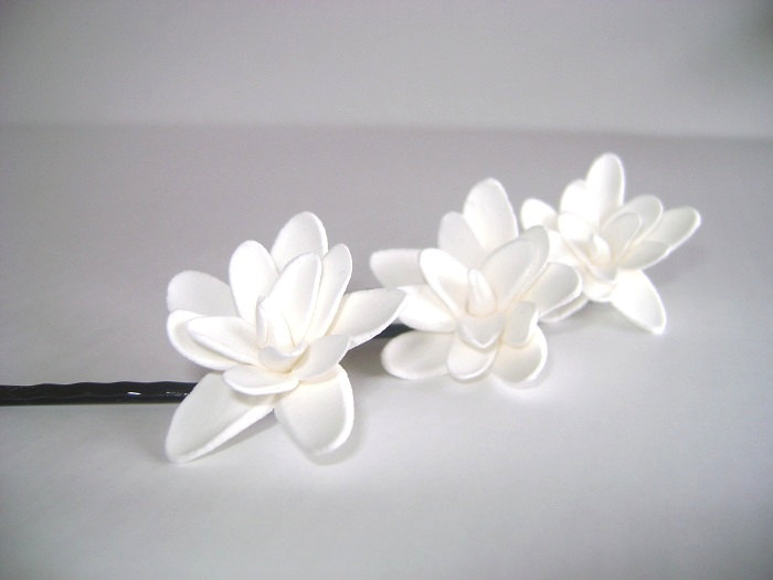 Wedding Hair Fascinator. Bridal/Bridesmaid Tuberose Hair Pins. Set of 3 Made to Order