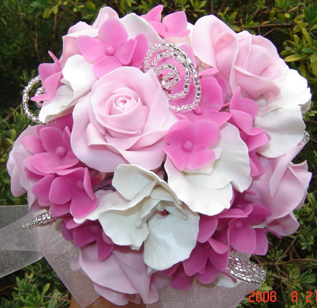 Pink Rose, White Sweet Pea and Hot Pink hydrangea Bouquet. Made-to-Order