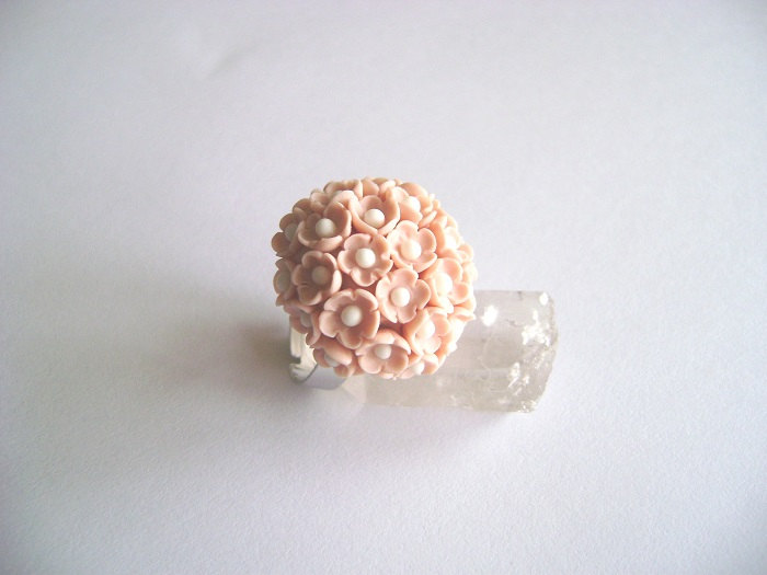 Pink Flowers Polymer Clay Adjustable Ring-Bridesmaids Gift