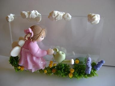 Handmade OOAK Clay Fairy/Picture Frame