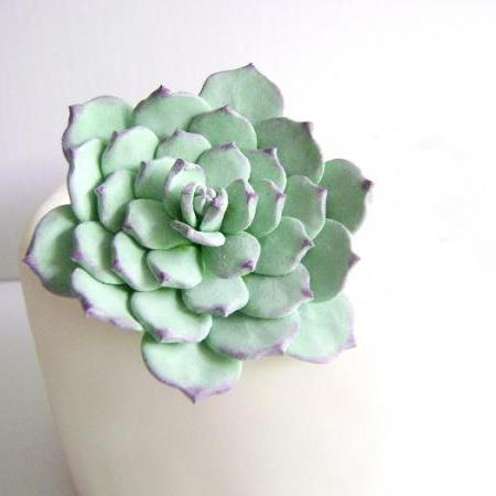 Wedding Cake Topper. Succulent Cake Topper. Wedding Cake Flower. Clay Wedding Cake Decor